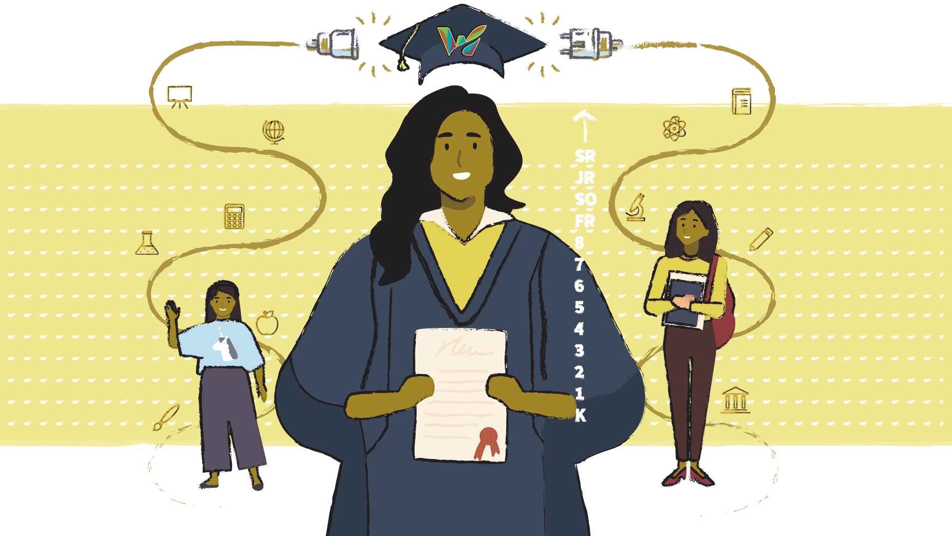 Graphic showing three females including a young student, older student and graduate