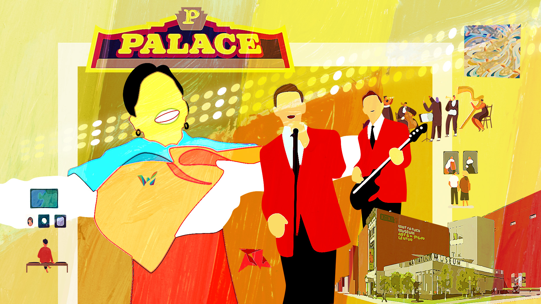 Colorful illustration of musicians, the Palace Theater and Mattatuck Museum in Waterbury CT