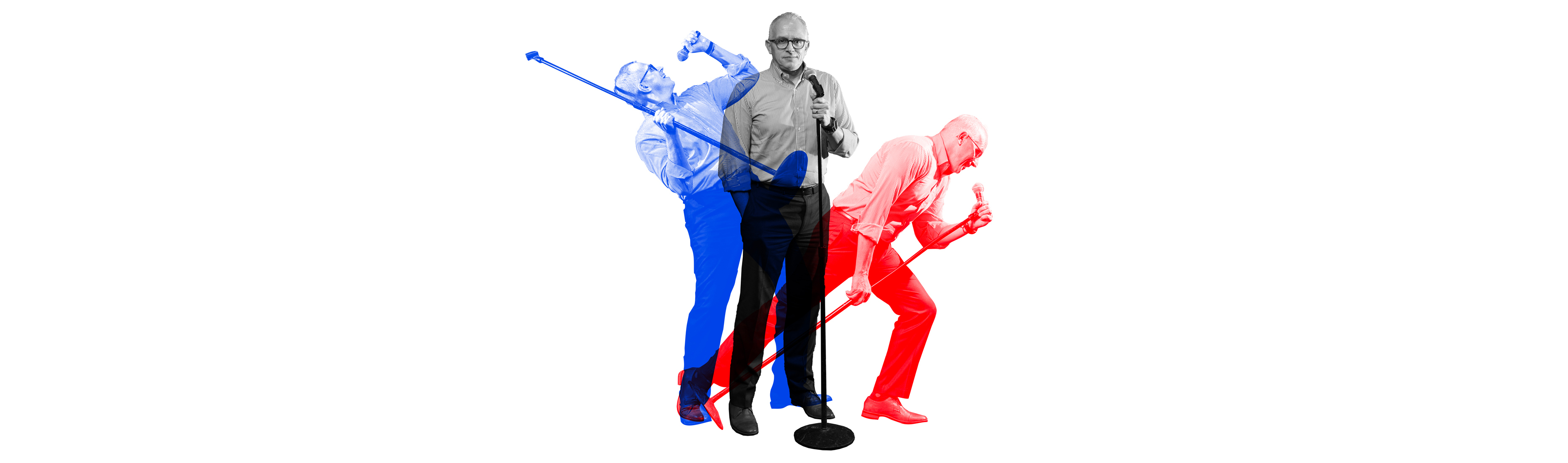 Frank Tavera of The Palace Theater at a microphone stand, overlayed with images of Frank singing