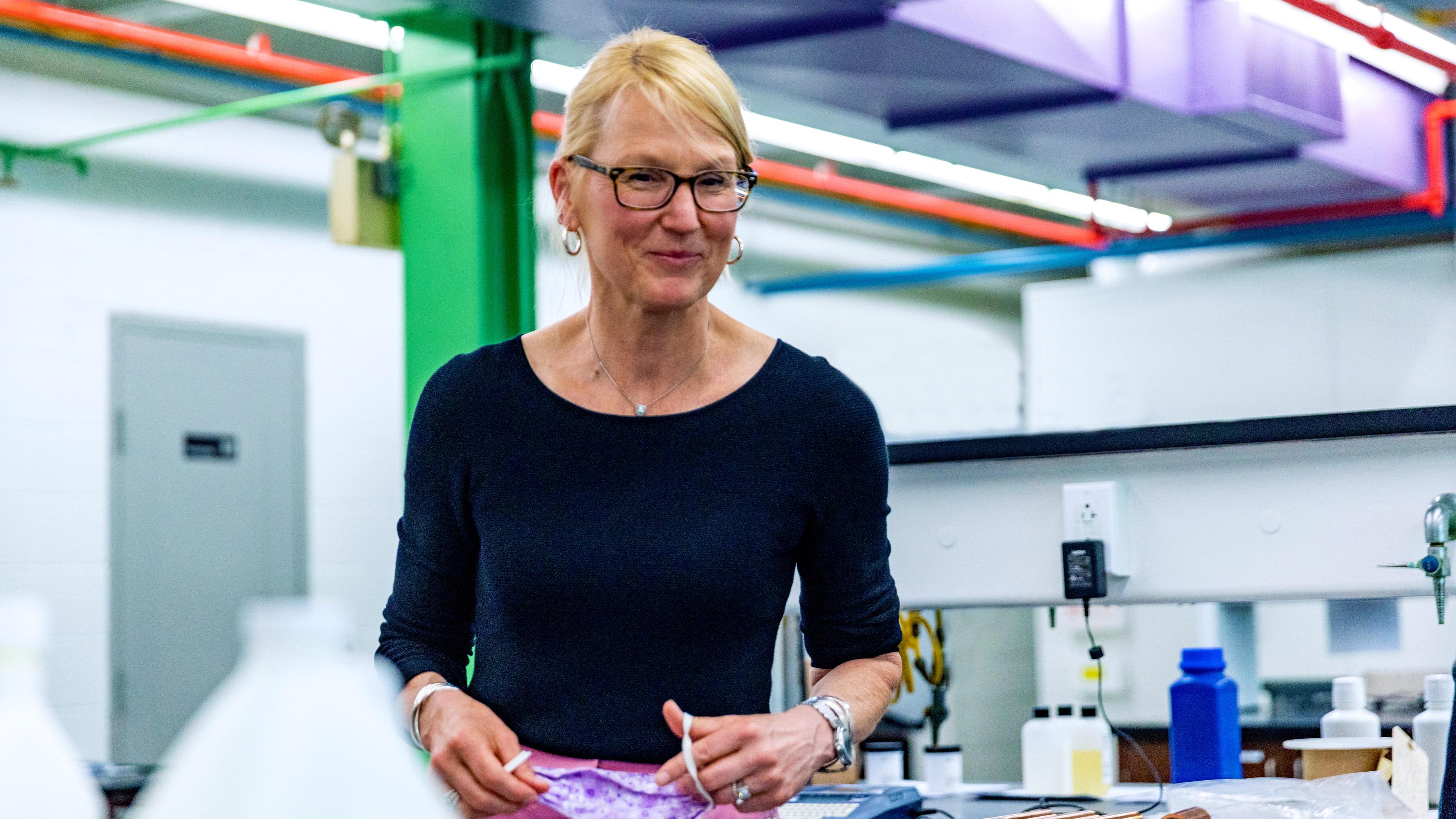 Molly Kellogg of Waterbury CT smiling inside the Hubbard Hall Chemistry Lab
