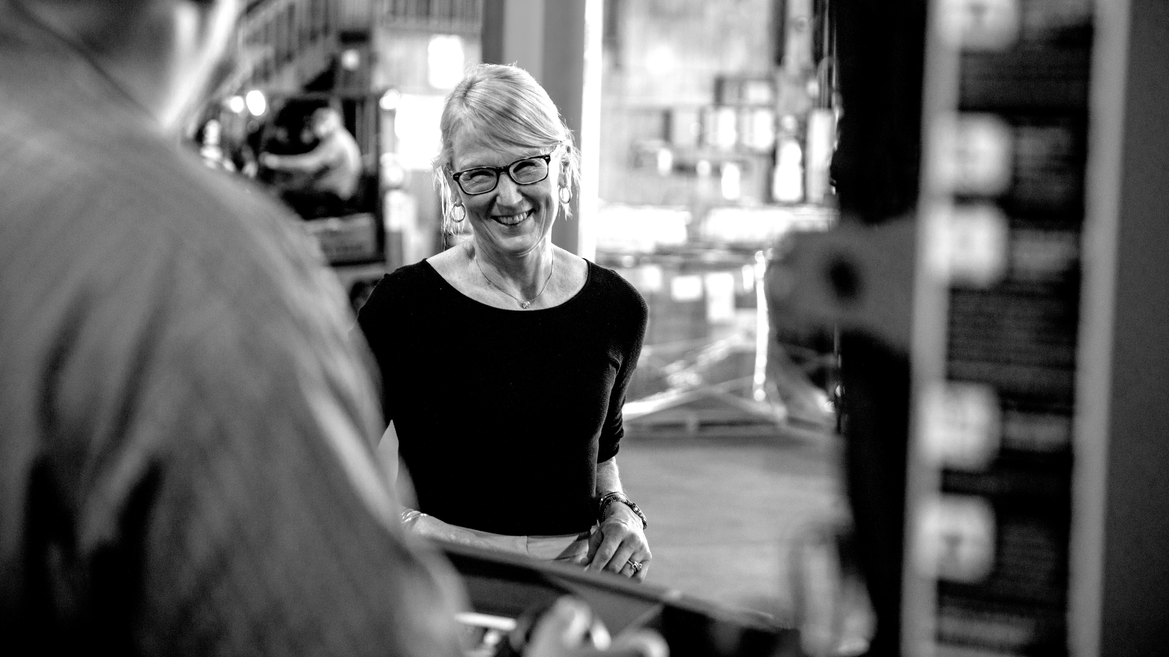 Black and white photo of Hubbard Hall CEO Molly Kellogg of Waterbury CT