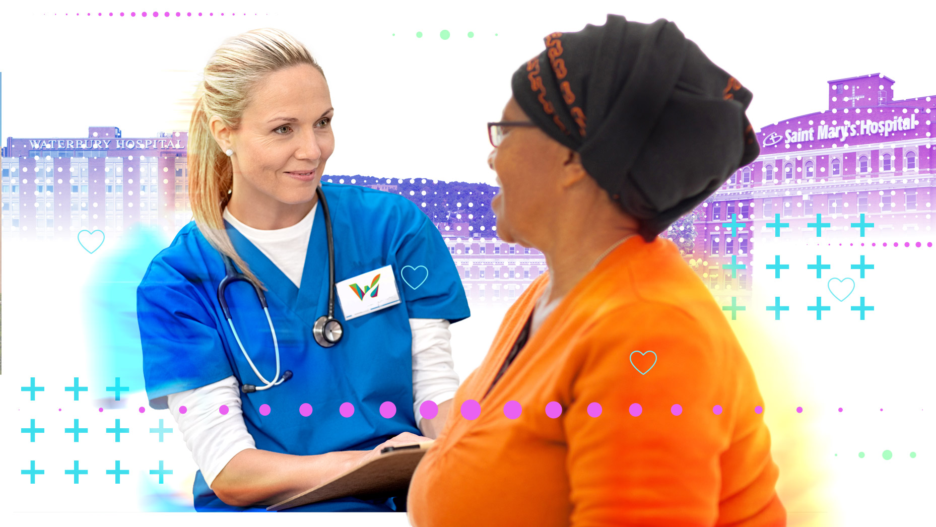 Female healthcare worker wearing a Waterbury badge speaking to a female patient and taking notes