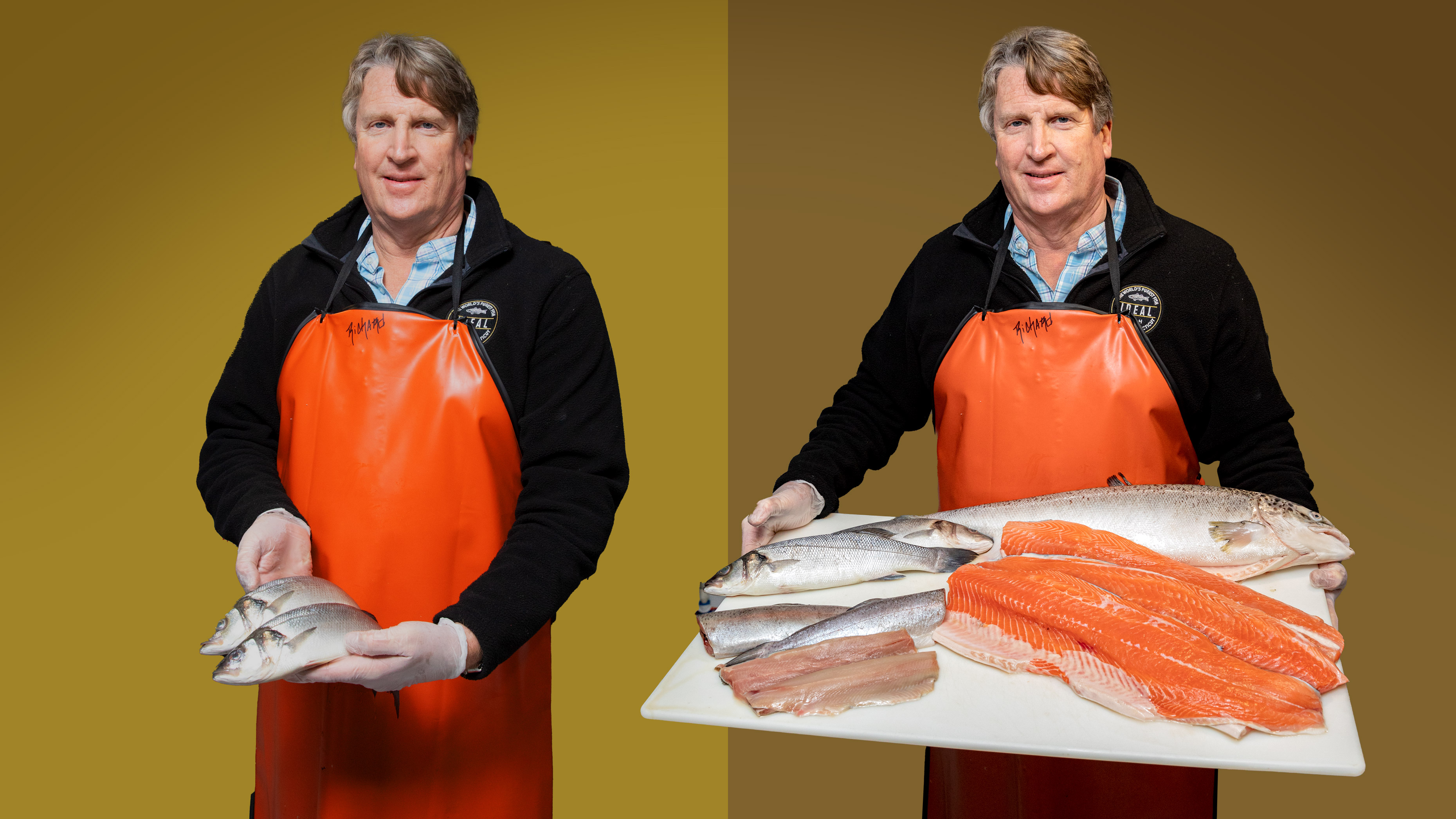 Two images of Ideal Fish CEO Eric Pedersen holding fillets of branzino fish