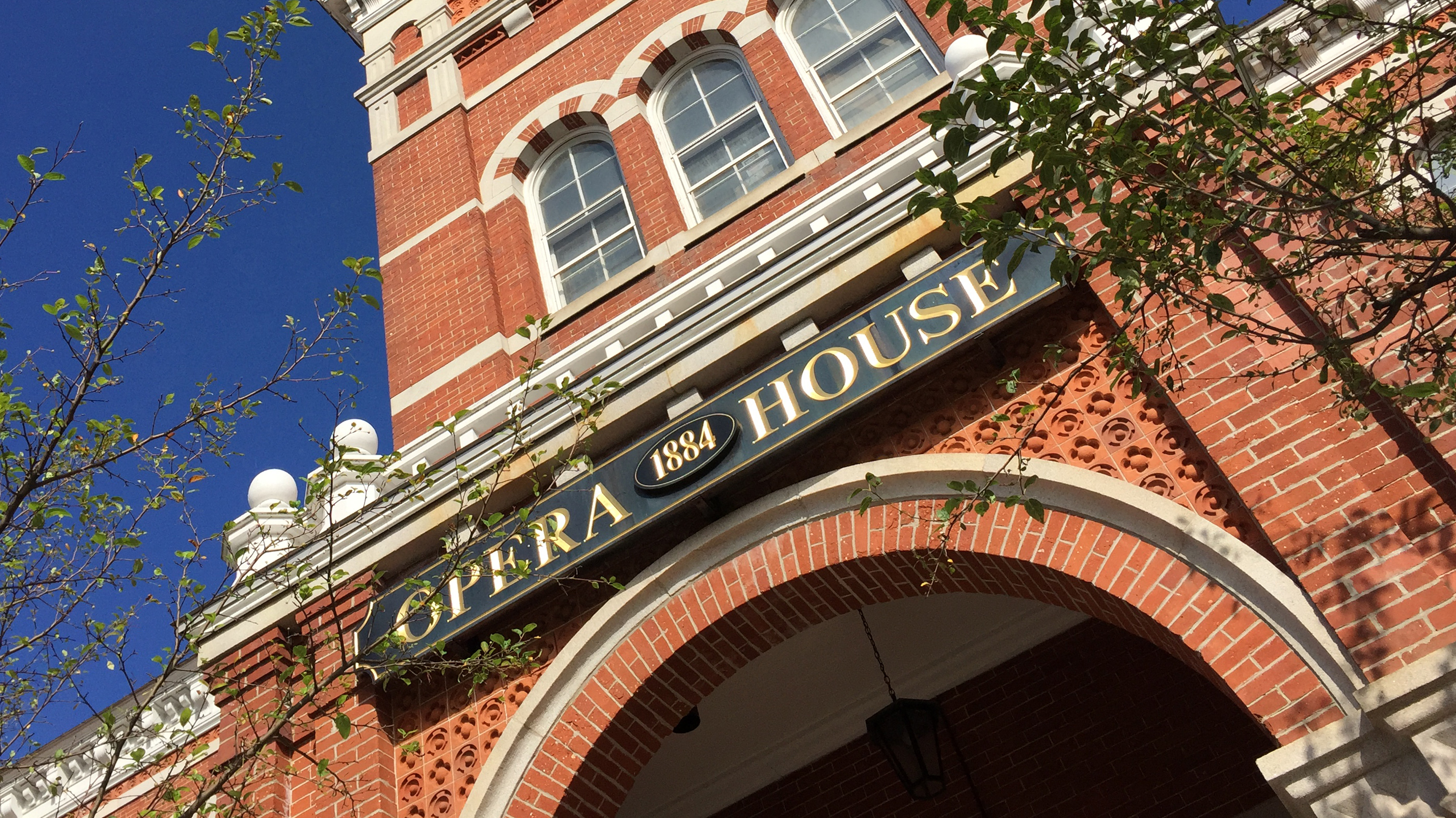 Front facade of the Thomaston Opera House on Main Street in Thomaston, CT