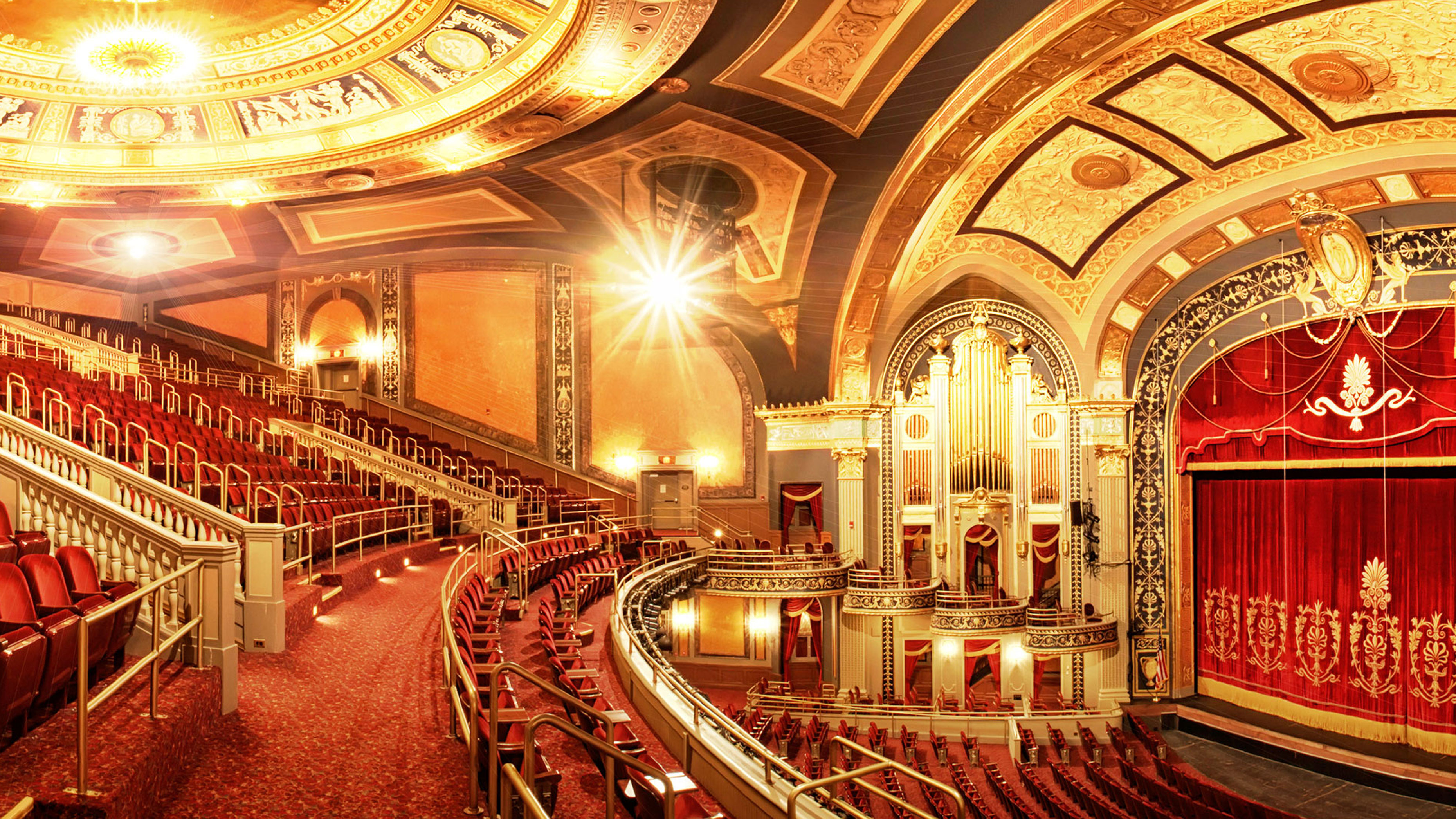View of the stunning architecture featured inside The Palace Theater in Waterbury CT