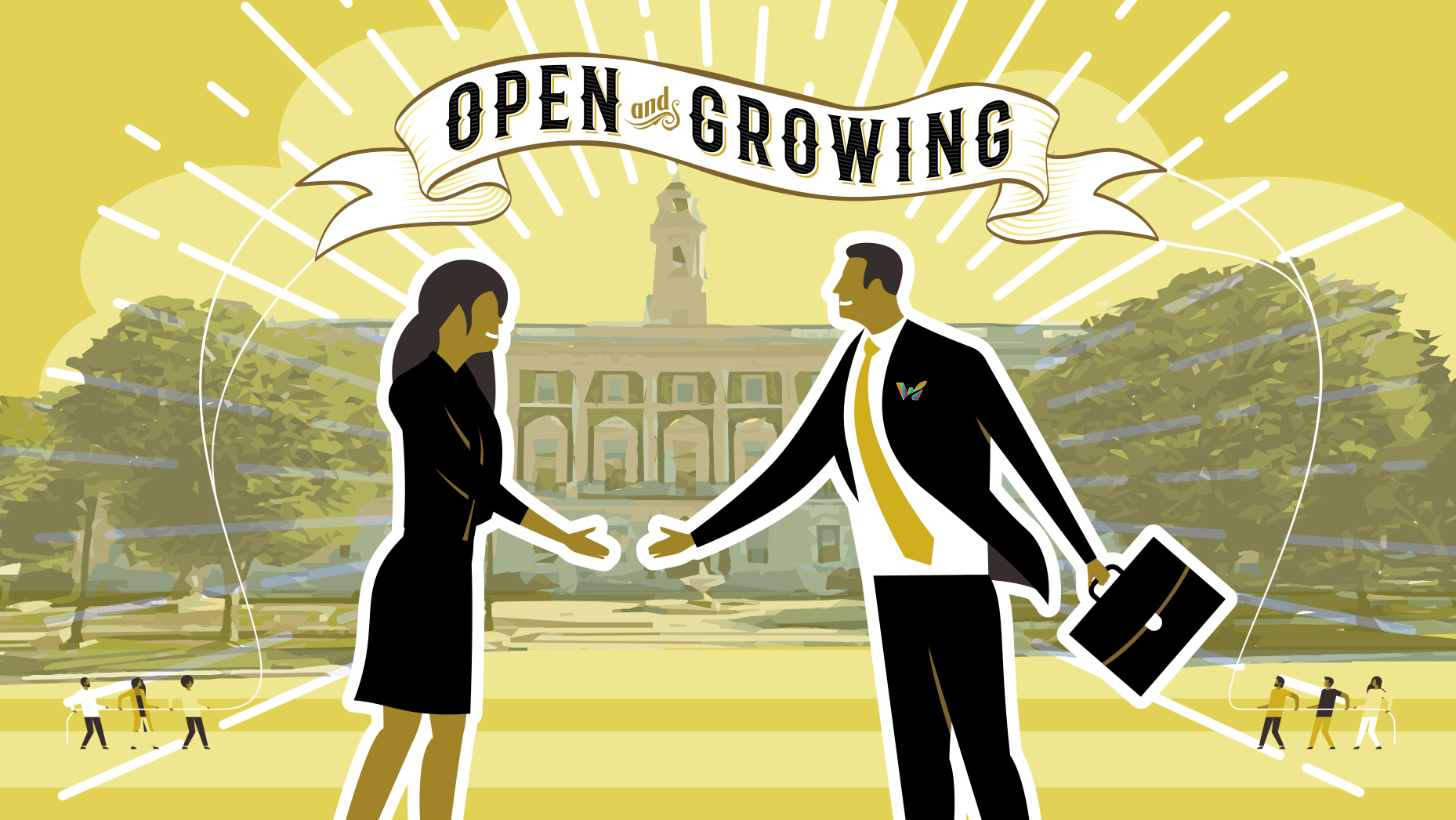 Graphic of a man and woman shaking hands in front of the Waterbury CT City Hall building below Open and Growing message