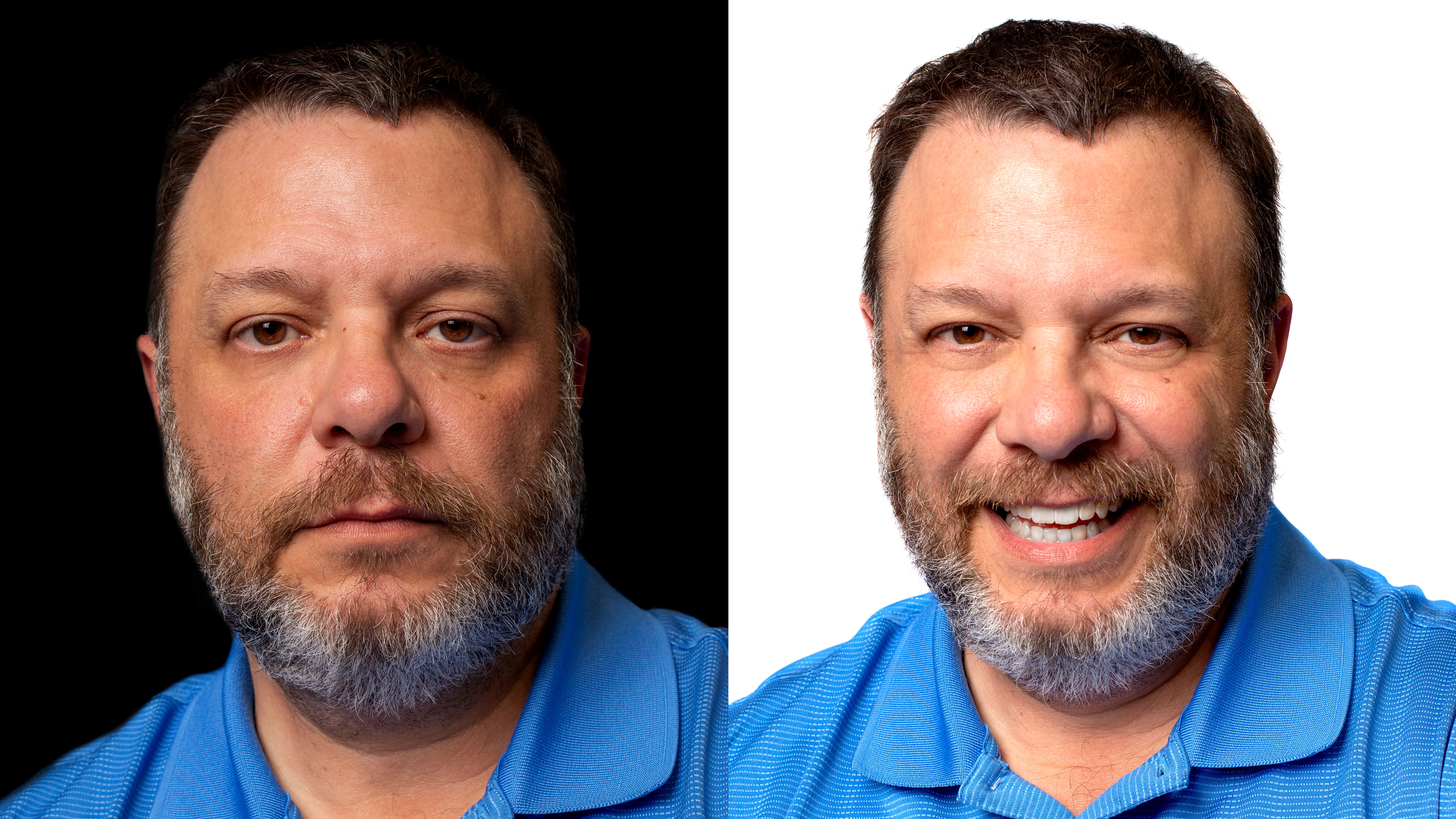 Two headshots of Frank Monteiro of Waterbury, left headshot with serious expression and right headshot smiling