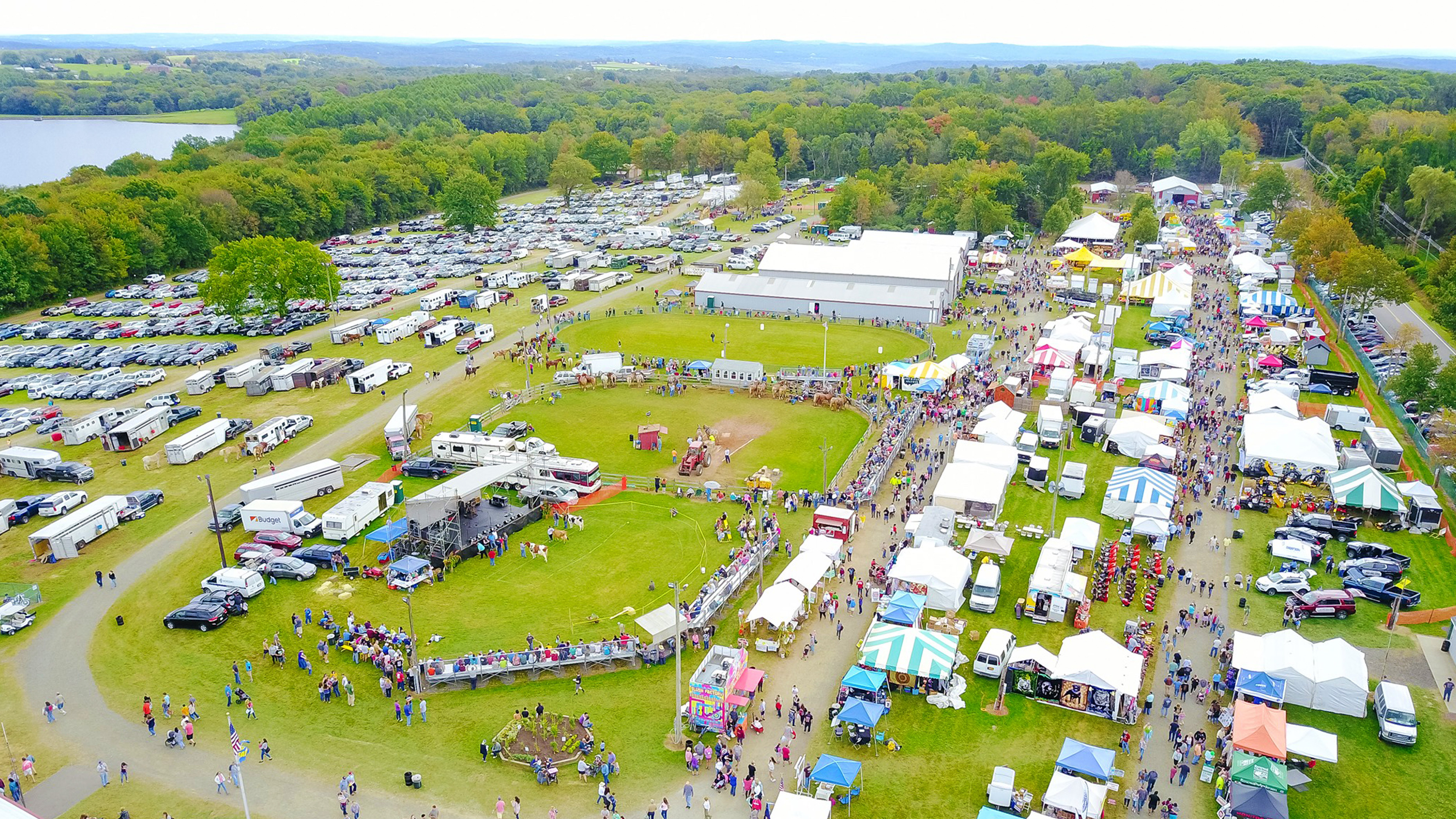 Aerial view of the Bethlehem Fair in Bethlehem, Connecticut