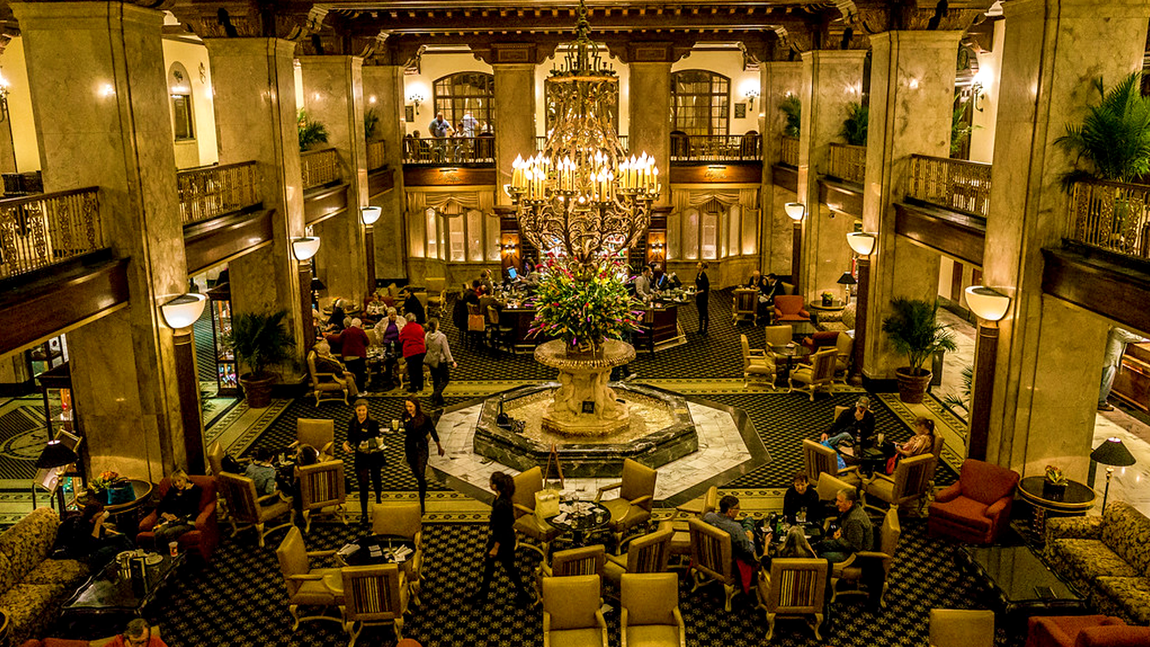 Interior view of architecture of the Peabody Hotel