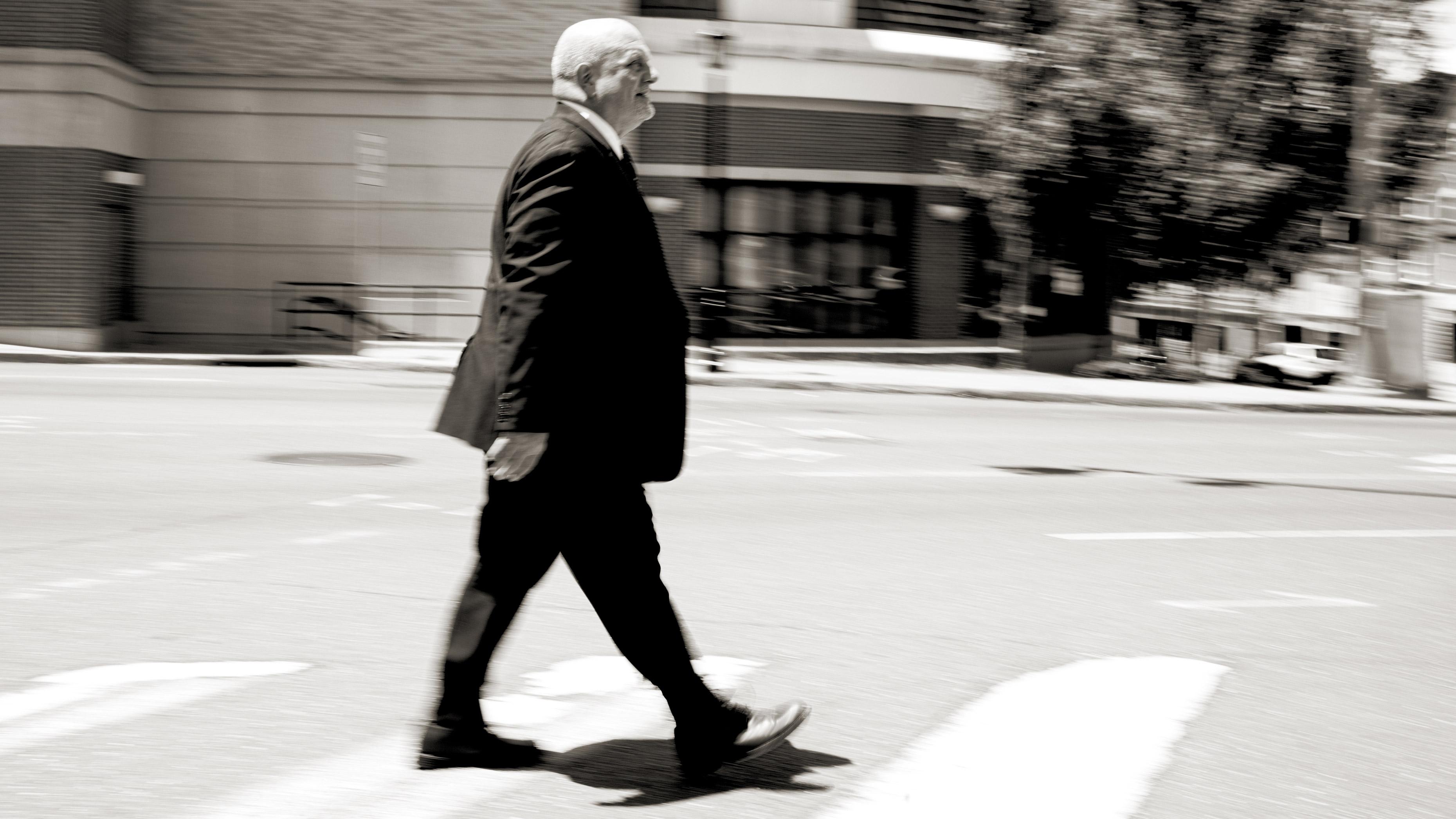 Dr. Steven Schneider of Sant Marys Hospital taking a walk through downtown Waterbury