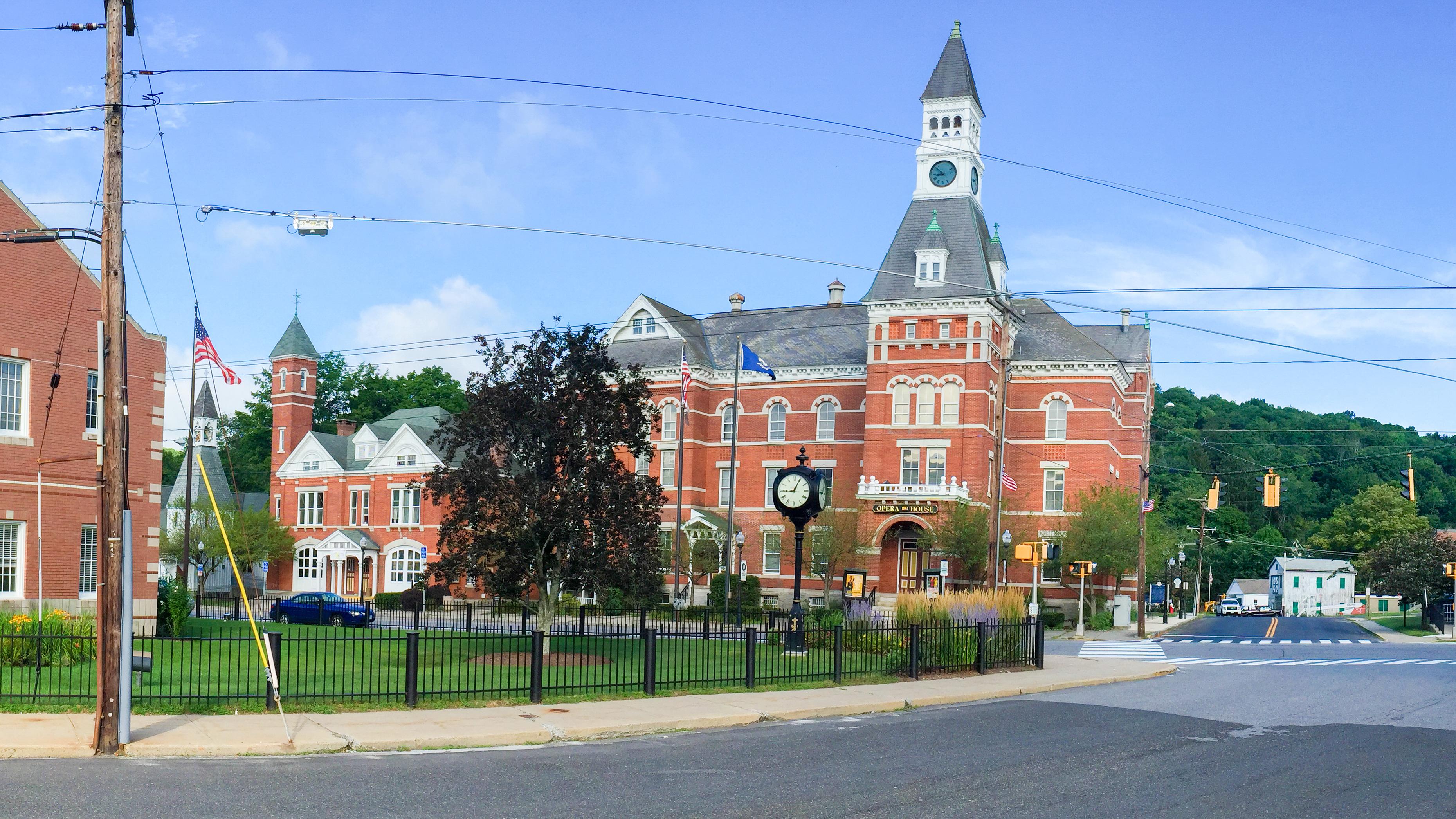 Main Street area in Thomaston, CT, with the Thomaston Opera House in center frame