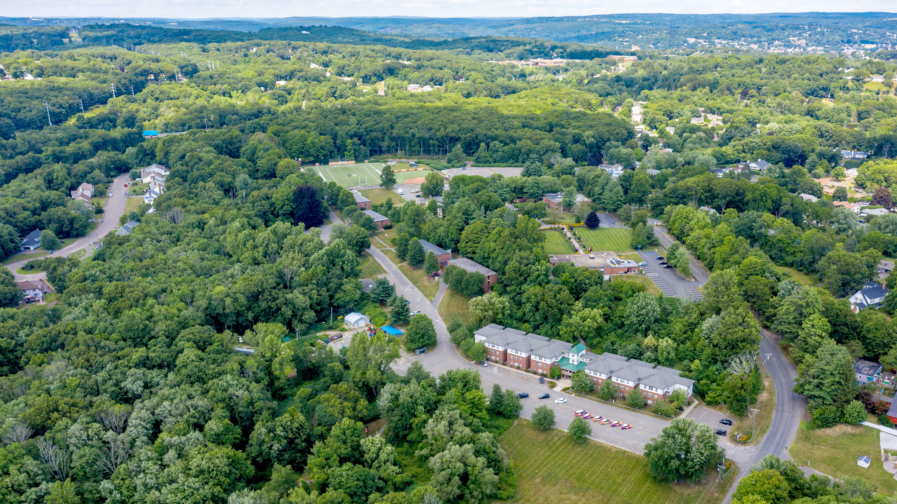 Overhead view of the Post University Campus in Waterbury CT