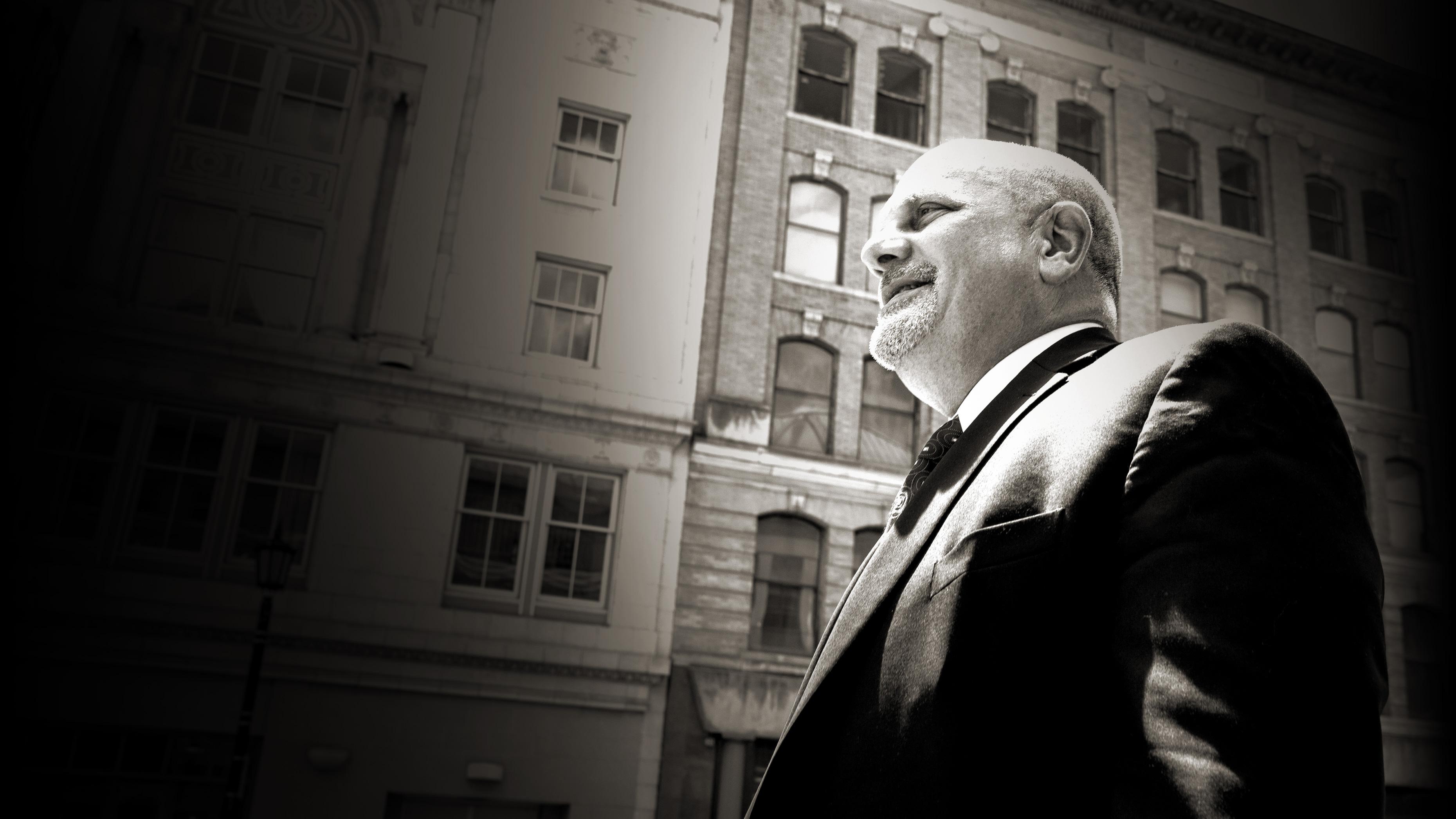 Black and white headshot of Saint Marys Hospital president Dr. Steve Schneider