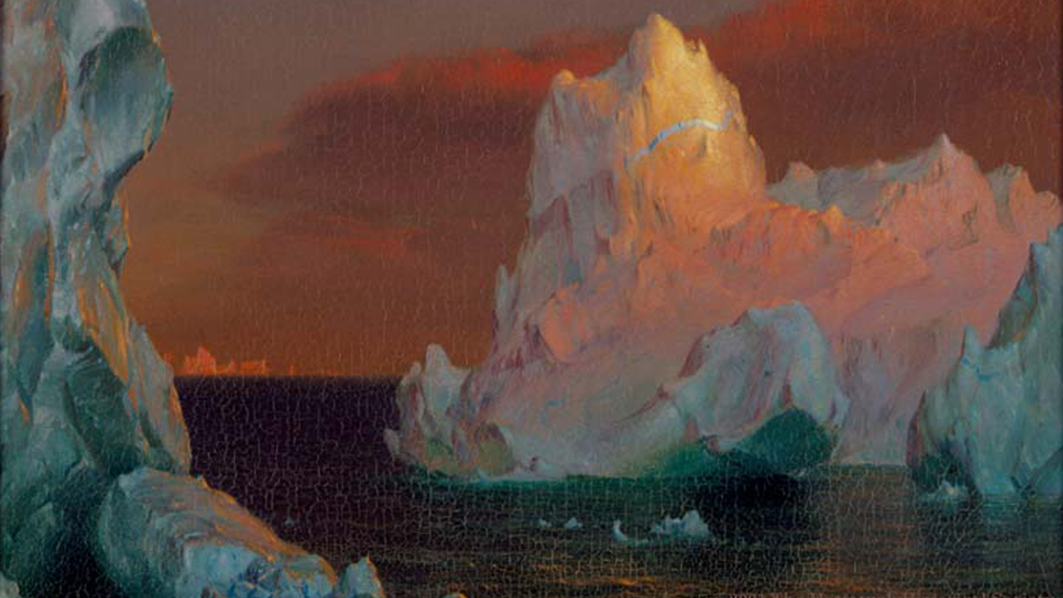 Frederic Church painting, Icebergs, from the Mattatuck Museum collection