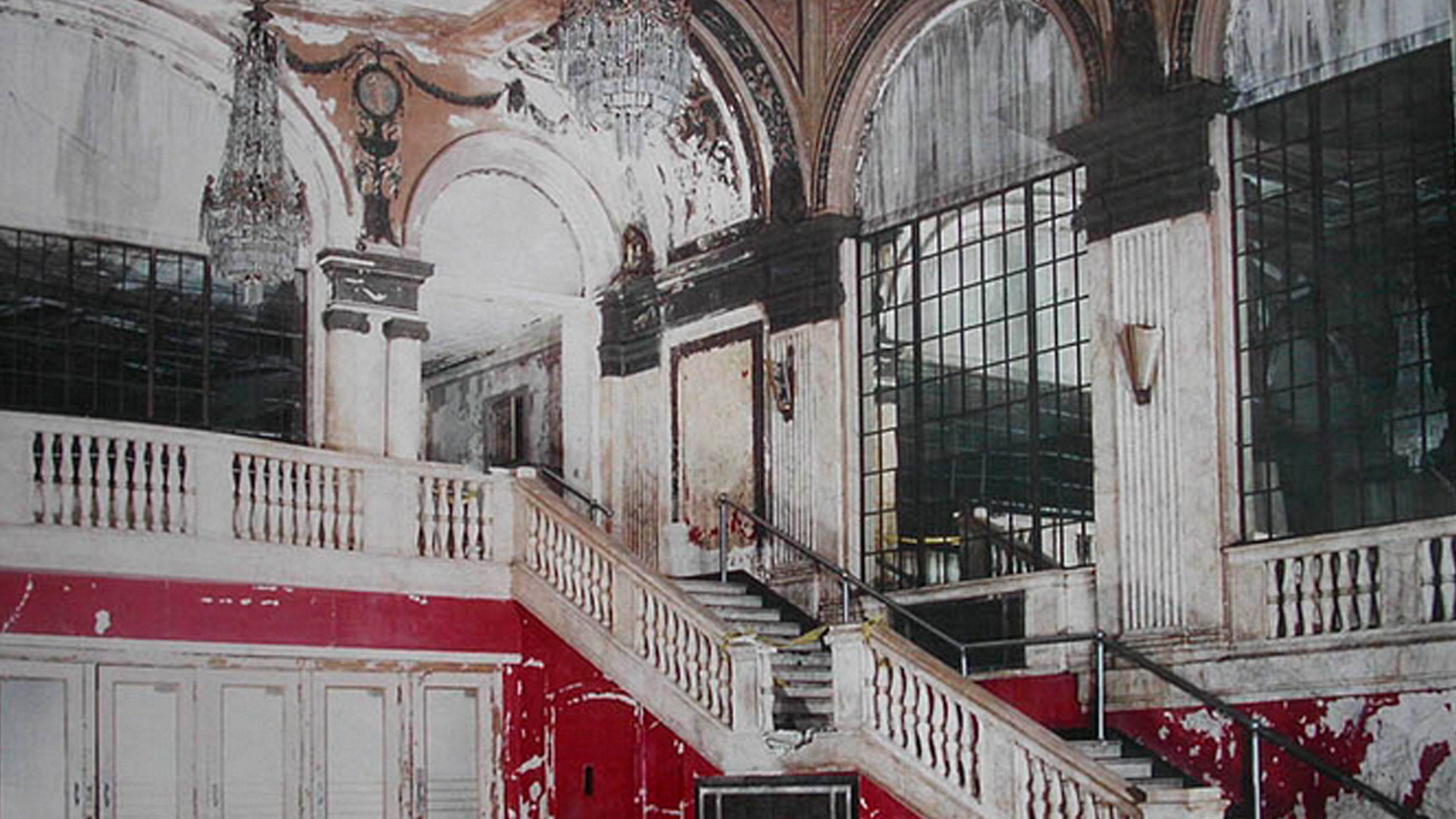 The interior of The Palace Theater in Waterbury CT before restoration efforts began