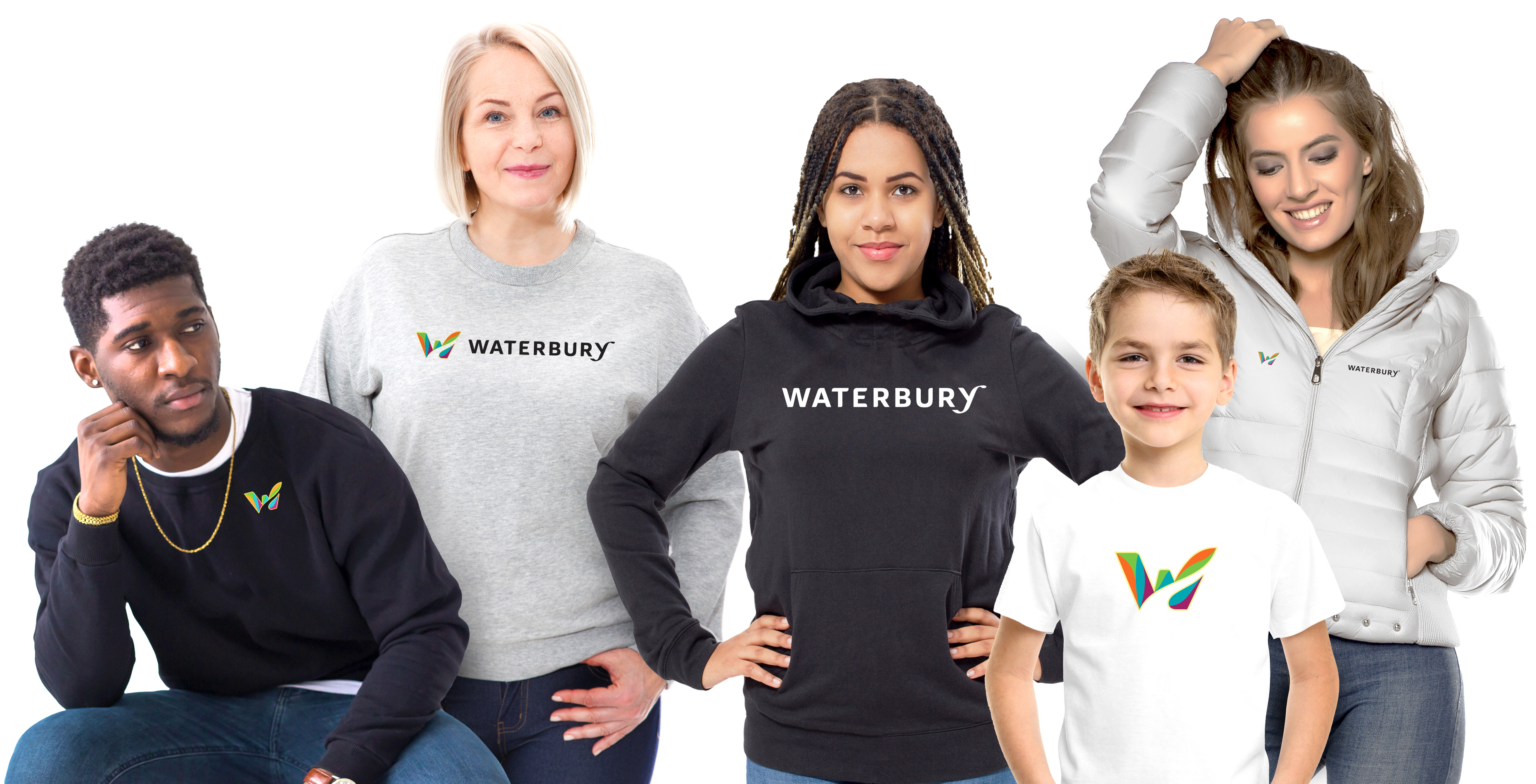 People of all ages wearing Official Waterbury CT brand merchandise and apparel