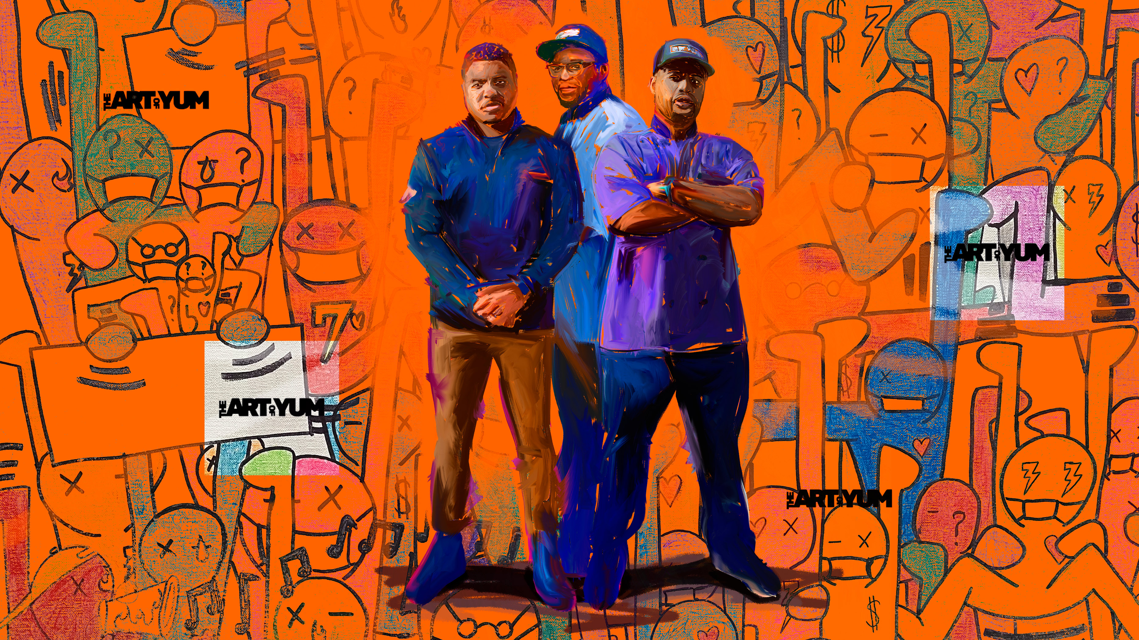 The Art Of Yum owners Michone Arrington, James Thompson and Donte Jones painted on top of illustrated art done by Arrington's children.