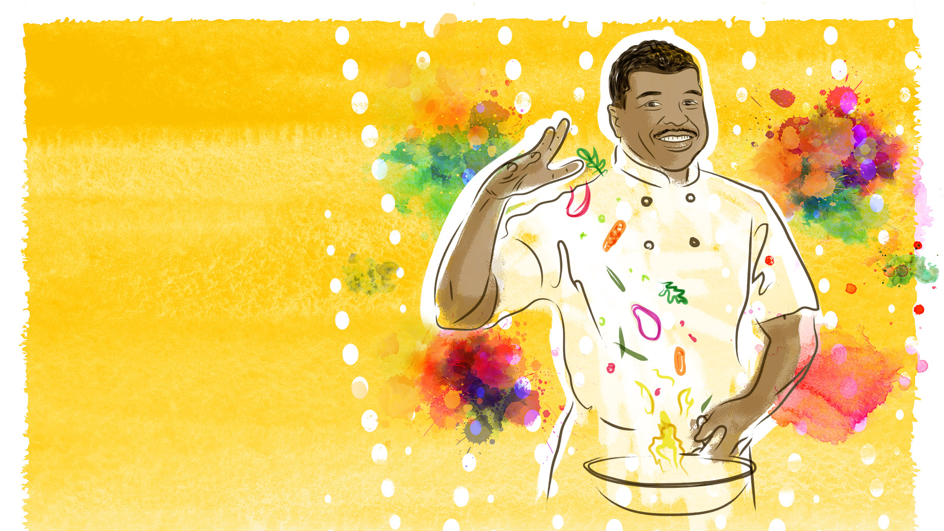 Digital illustration with Michone Arrington throwing food ingredients into a pan