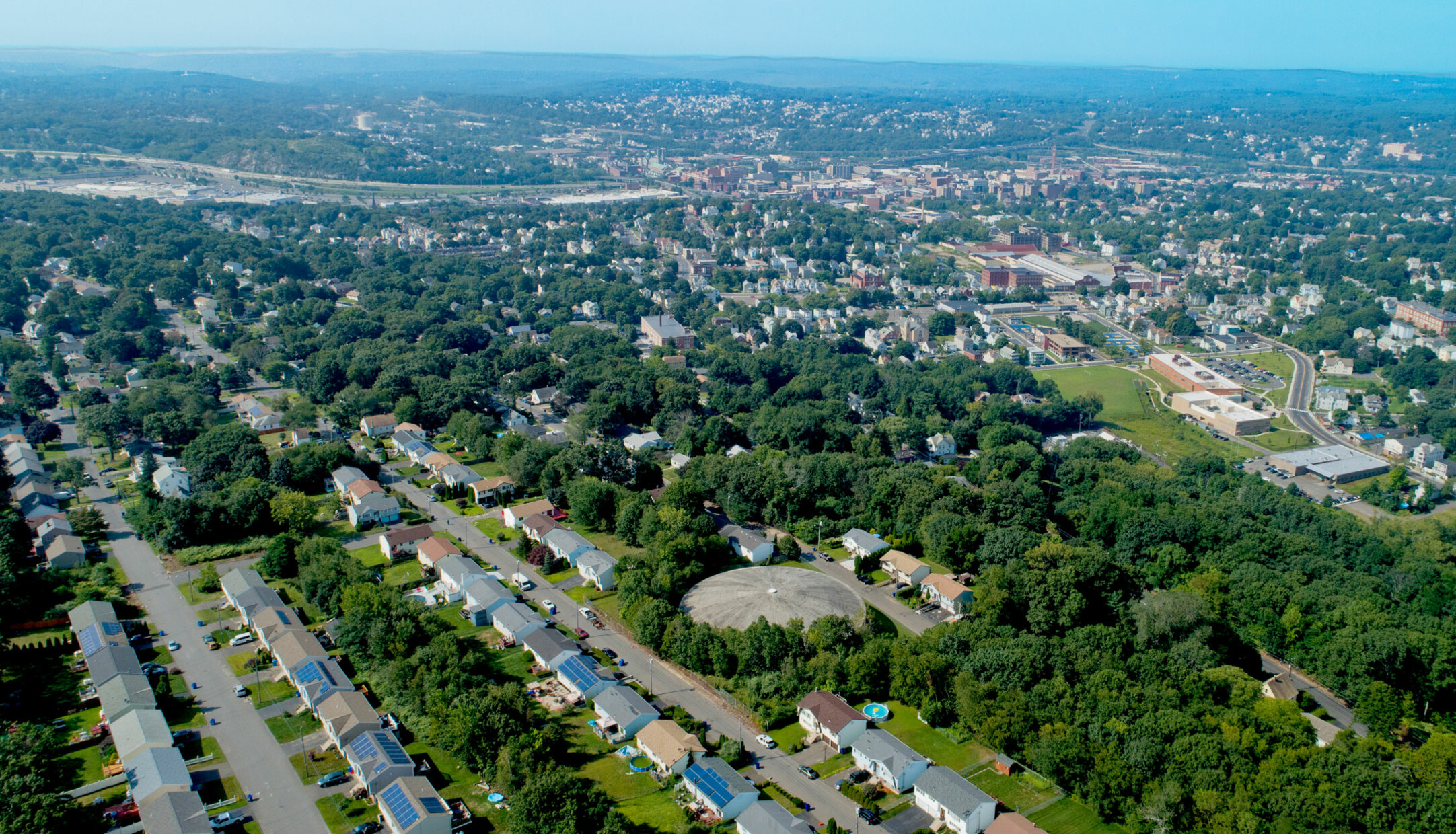 An aerial view of houses and streets in the Arlington neighborhood in Waterbury