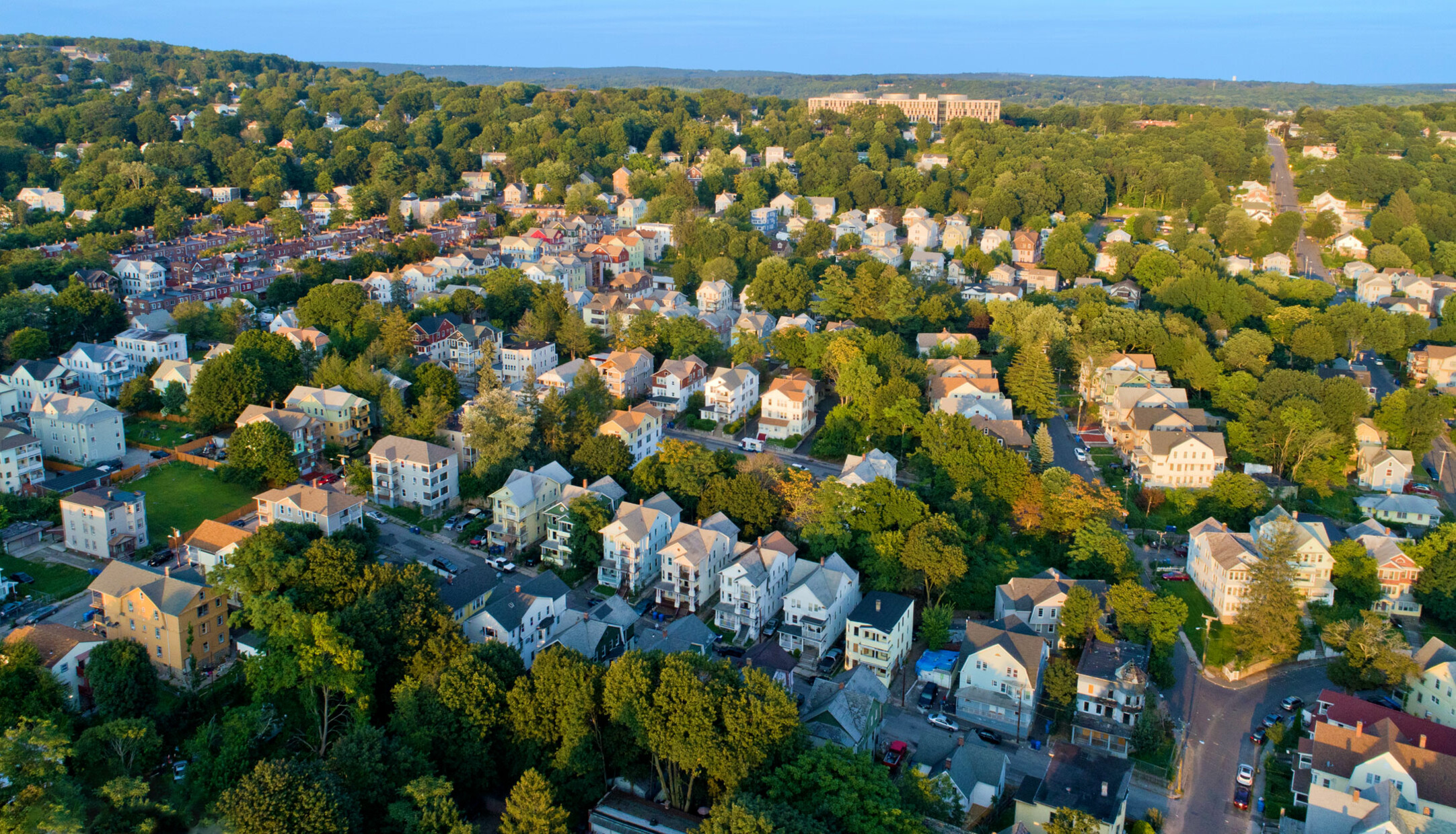 An aerial view of houses and streets in the Walnut Orange Walsh neighborhood in Waterbury