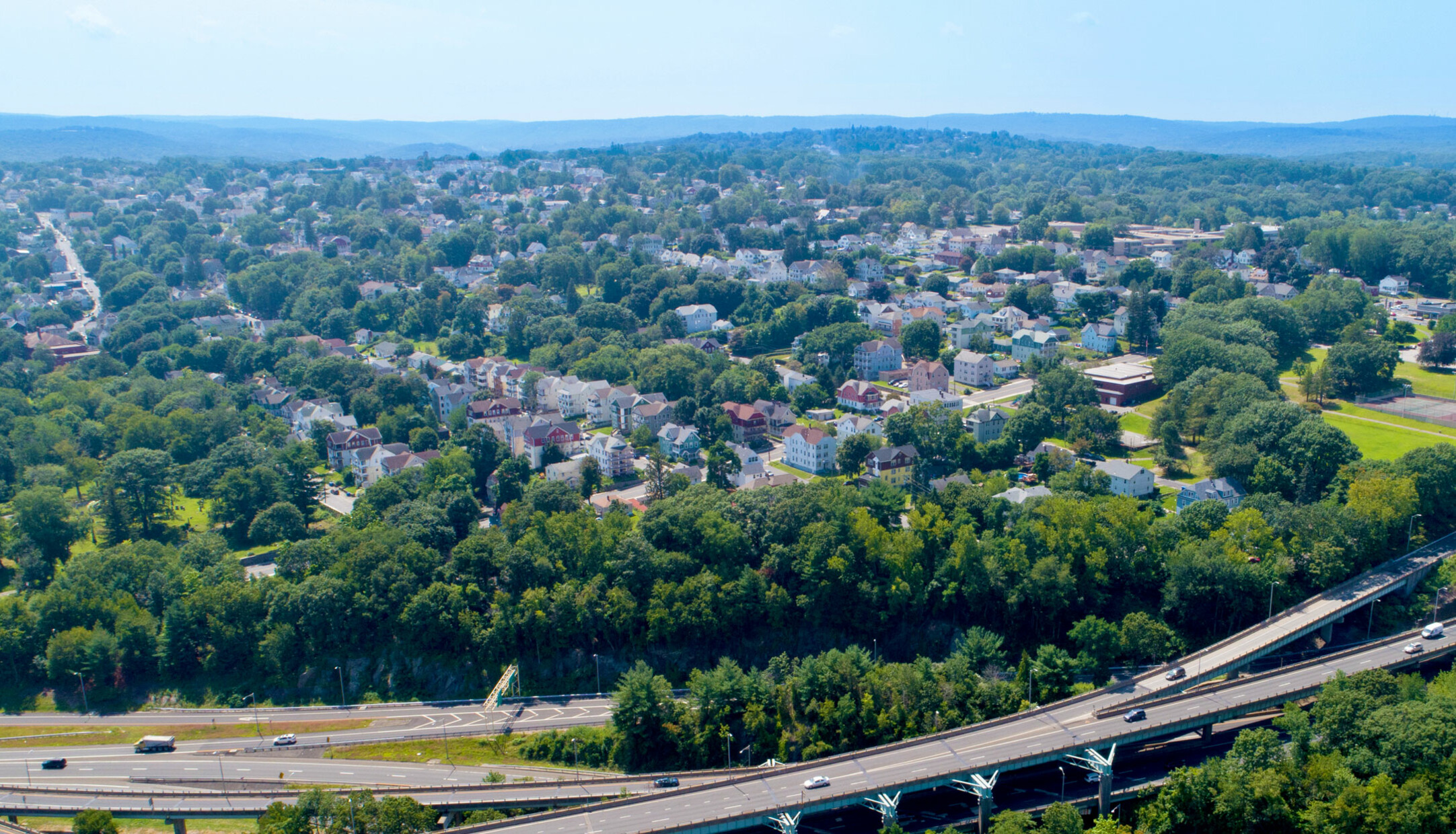 An aerial view of houses and streets in the Town Plot neighborhood in Waterbury