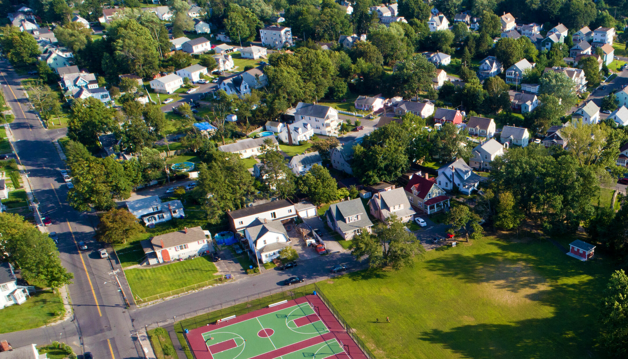 An aerial view of houses and streets in the Hopeville Park neighborhood in Waterbury