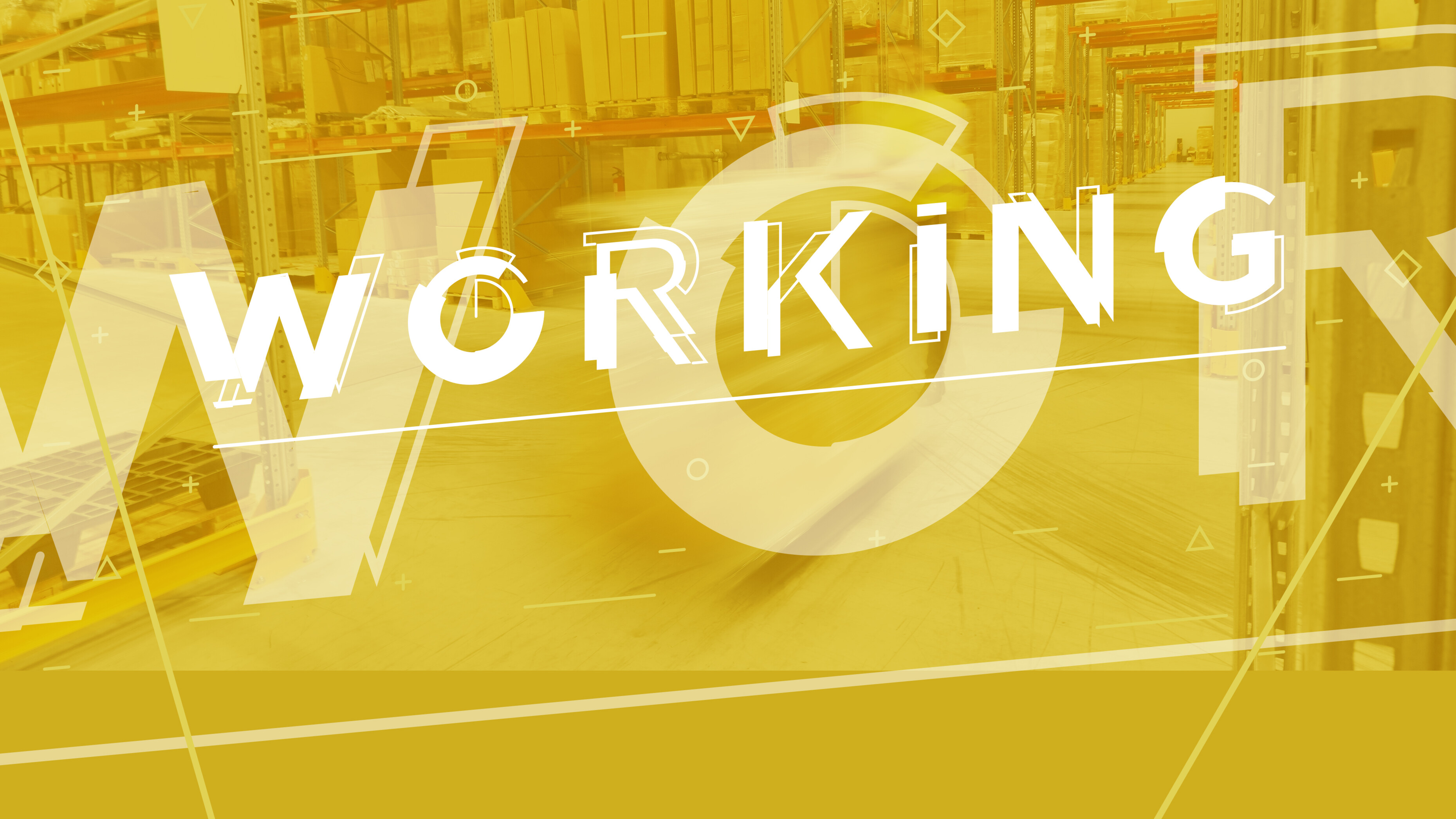 The word Working over a brass background showing an industrial setting