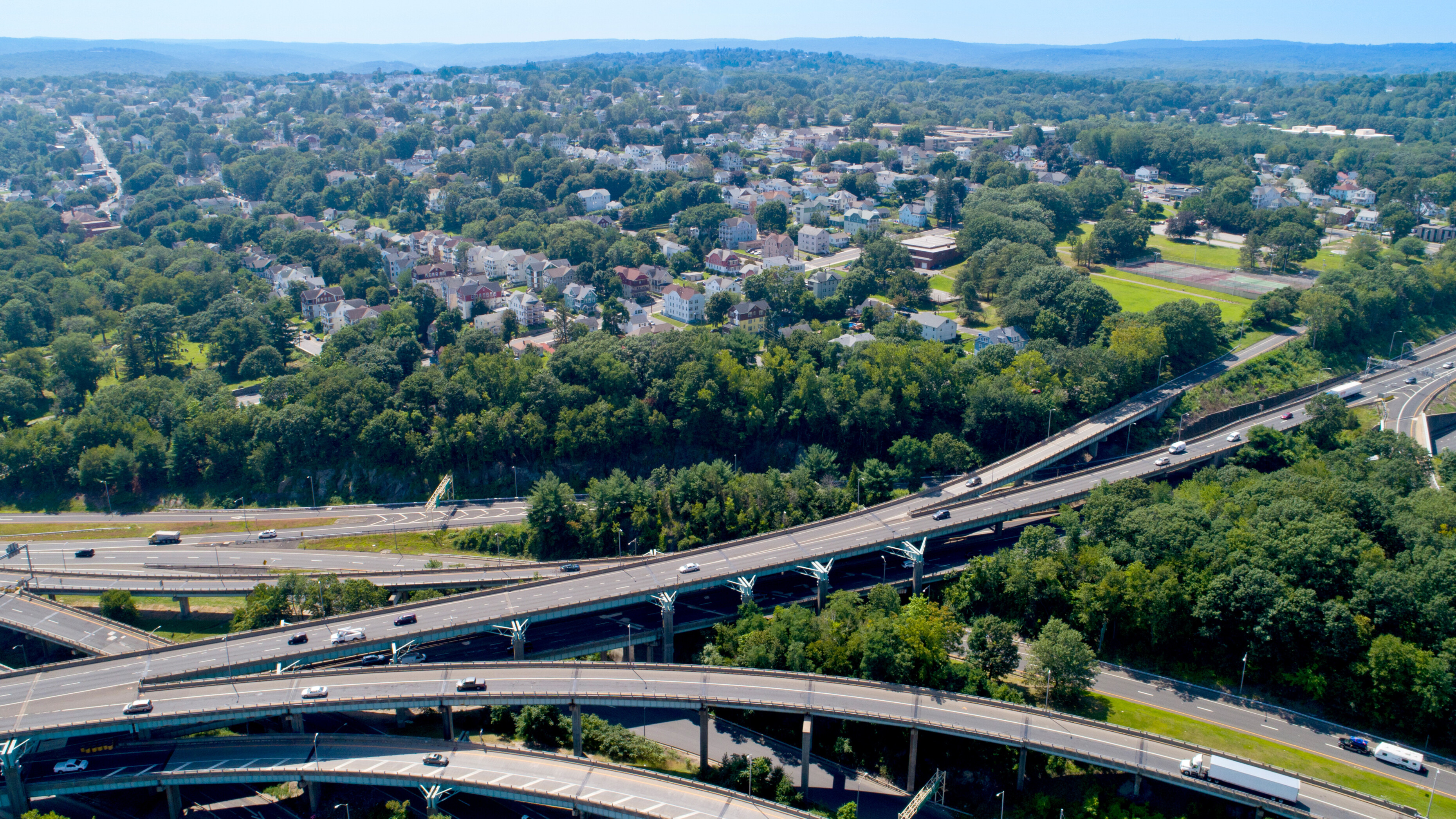 Aerial view of I-84 highway, Route 8 and the City of Waterbury.