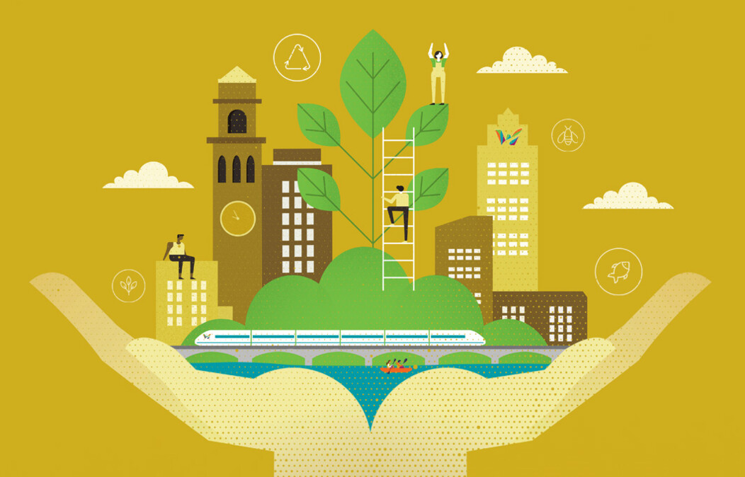 Graphic of two hands holding a growing city, large tree and waterway