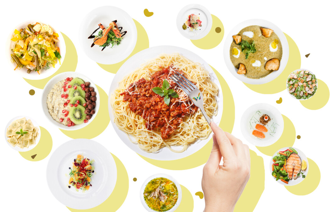 Hand holding a fork over various plates of food including pasta, fruit, fish and salad