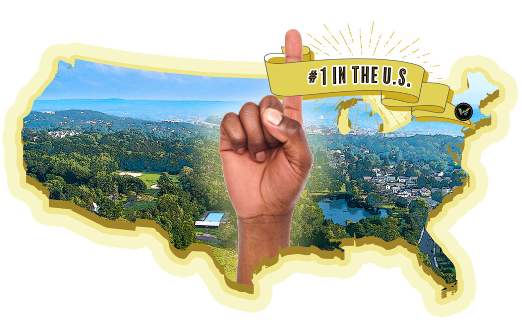 Collage with pointer finger raised on a hand and a ribbon naming Waterbury the Most Affordable Suburb with a City Feel in the United States