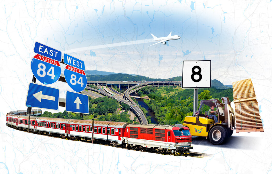 Graphic of a train, forklift, airplane taking off, the Mixmaster highway area and signs for I-84 and Route 8