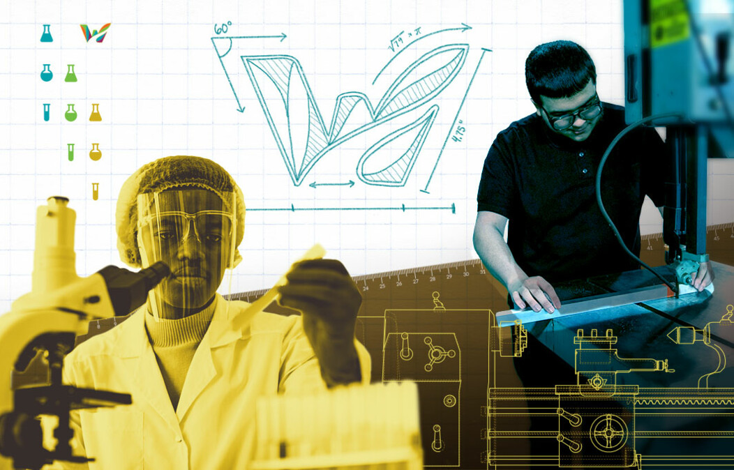 Photo of two people using science equipment and manufacturing machinery with a mathematical drawing of Waterbury logo