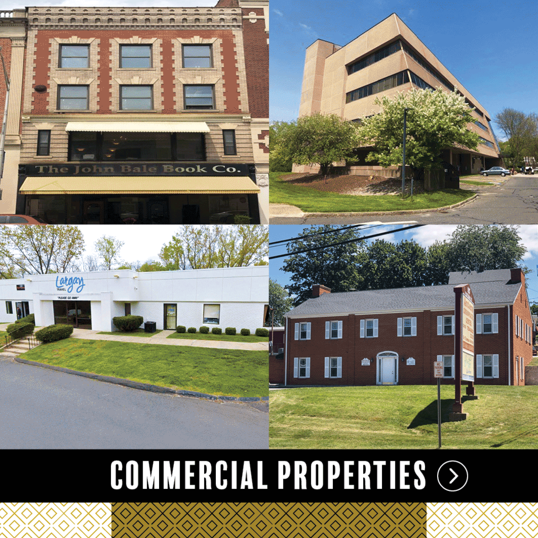 The exterior of four business buildings in Waterbury CT, representing Commercial Properties