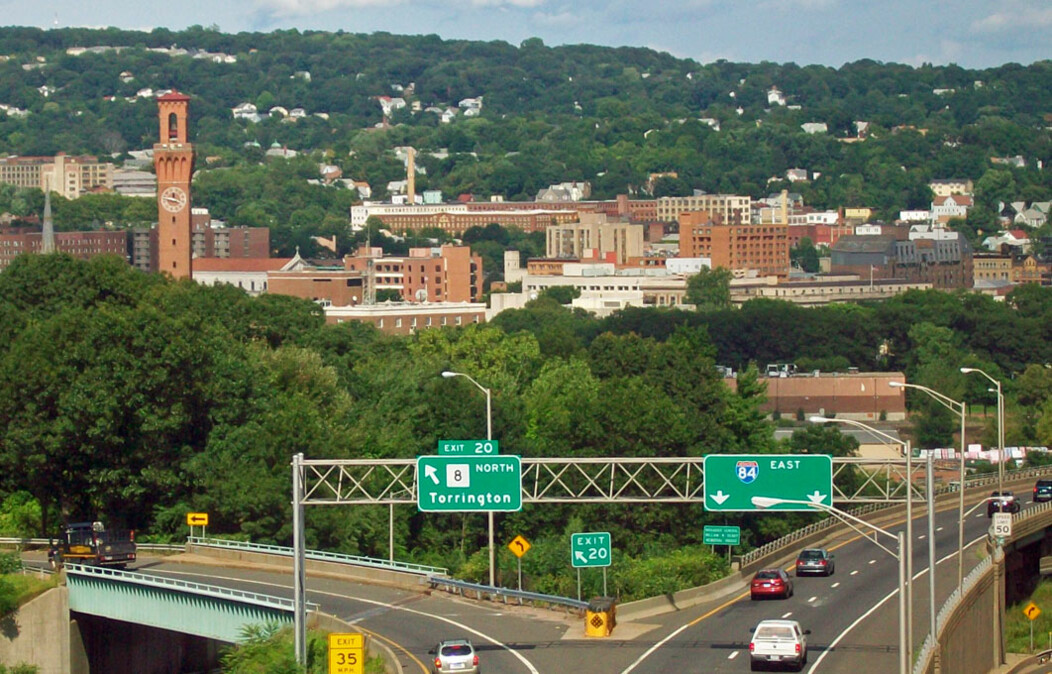 View of the city of Waterbury Connecticut and I-84 highway