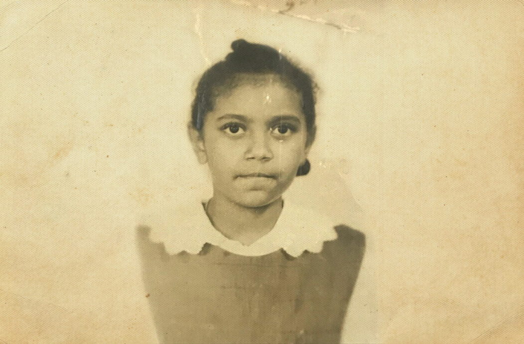 A black and white photo of Dr. Verna Ruffin of Waterbury CT as a young girl
