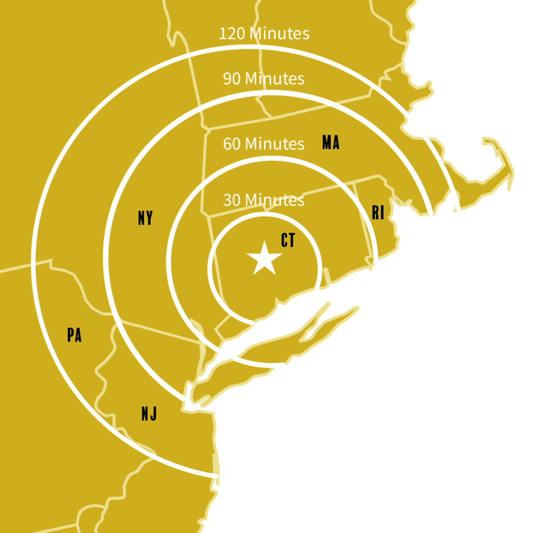 Brass colored map graphic of Connecticut and neighboring states to indicate distance from Waterbury