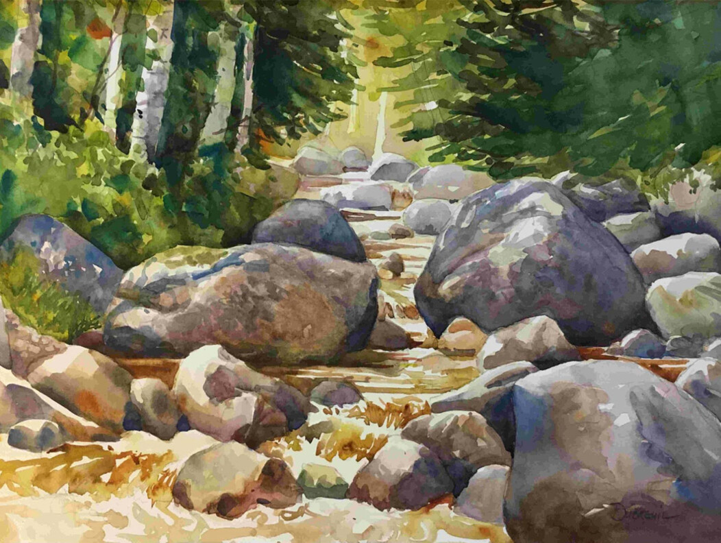 A nature painting featuring rocks, a stream and the woods from The Arts & Culture Collaborative in Waterbury