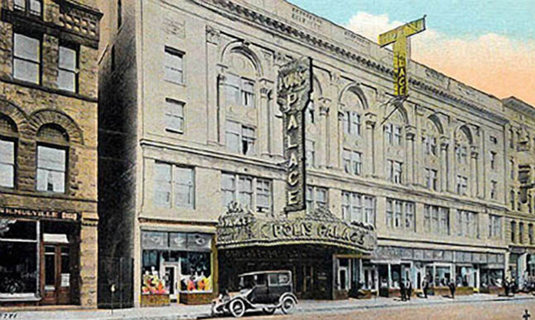 An older photo of the exterior of the historic Palace Theater in Waterbury CT