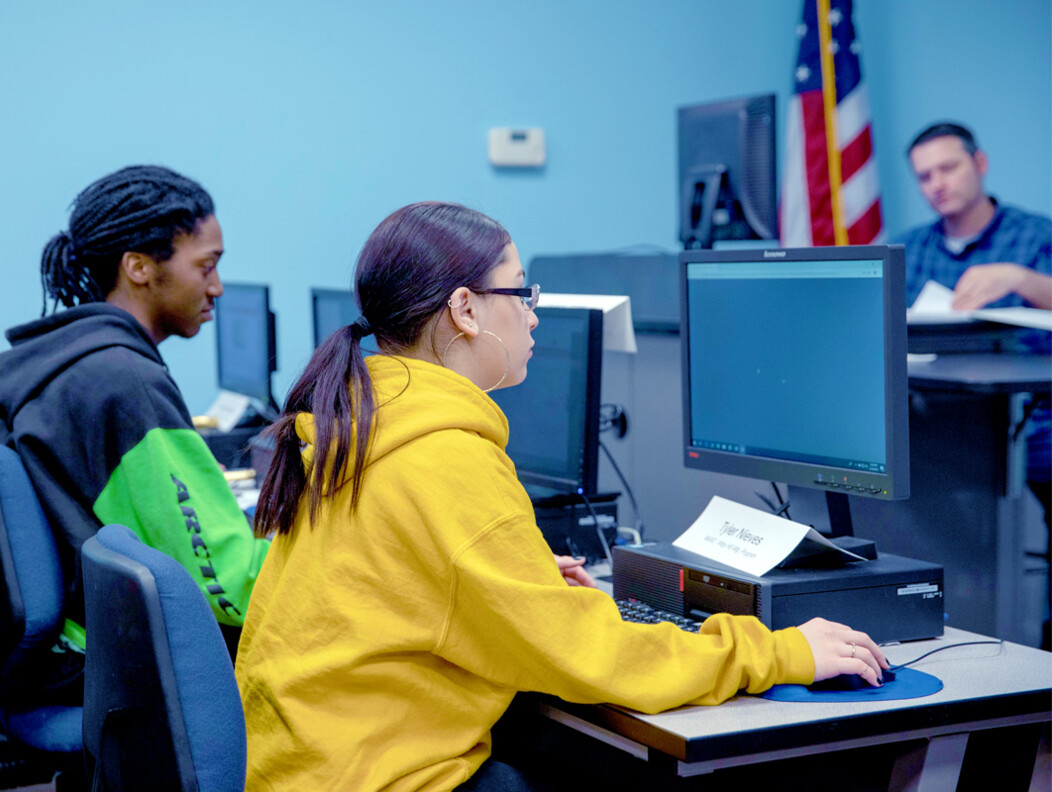 Local Waterbury CT students in a computer lab learning vital career skills